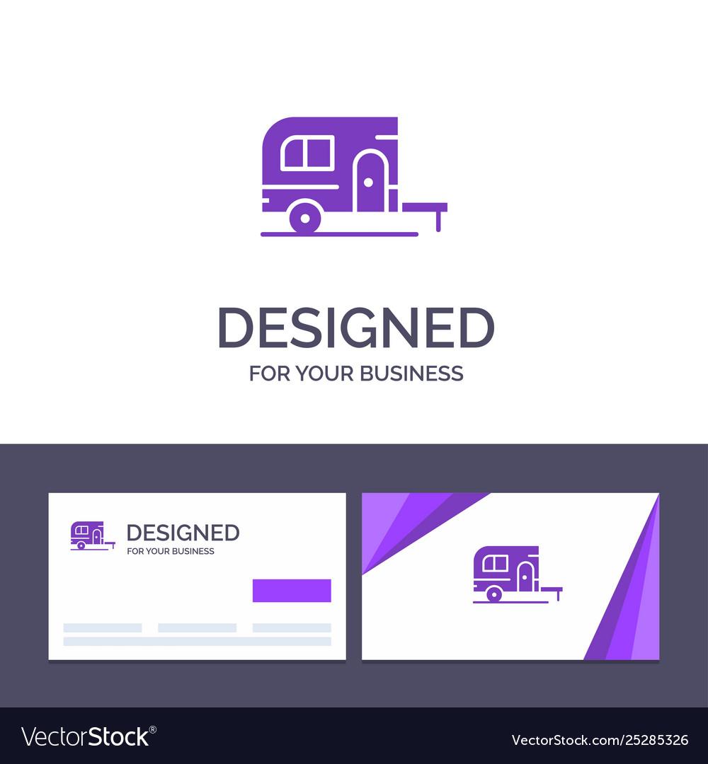 Creative business card and logo template caravan