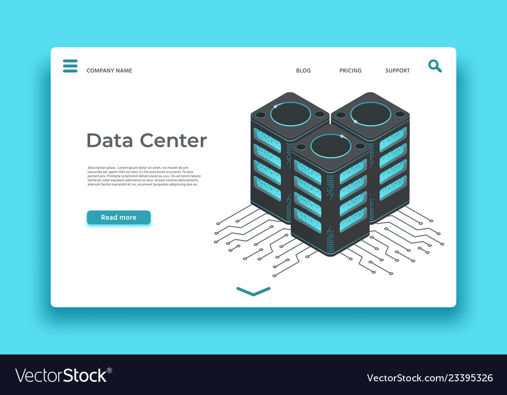 Data center landing page isometric servers
