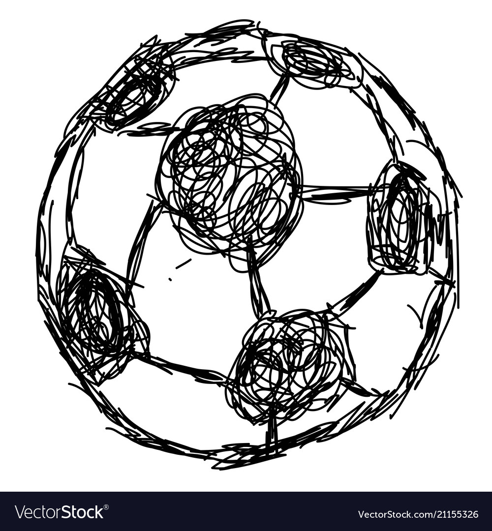 Doodle hand drawn soccer ball icon