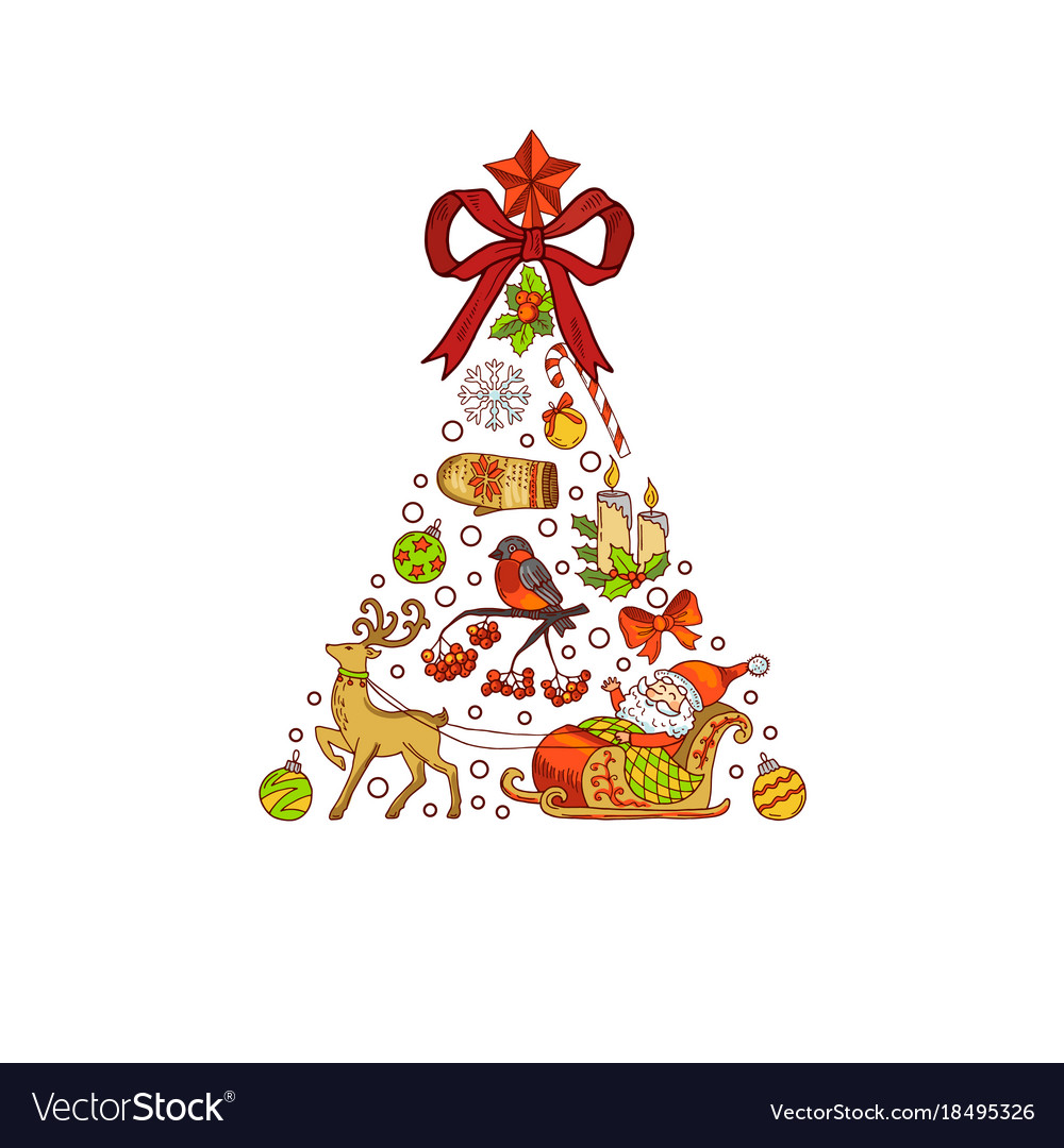 Hand drawn colored christmas tree made of
