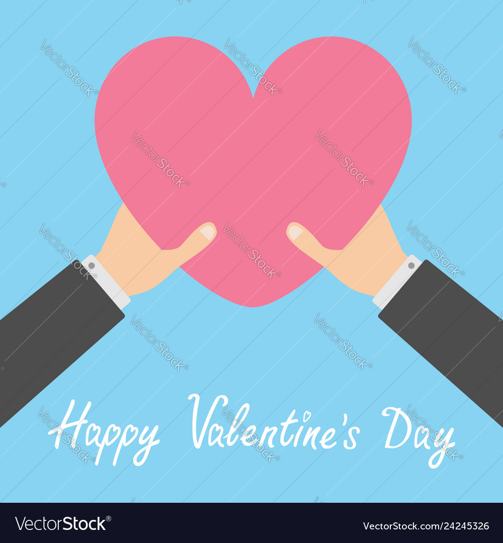 Happy valentines day two businessman hands arms