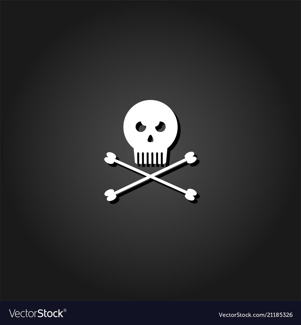 Jolly roger icon flat