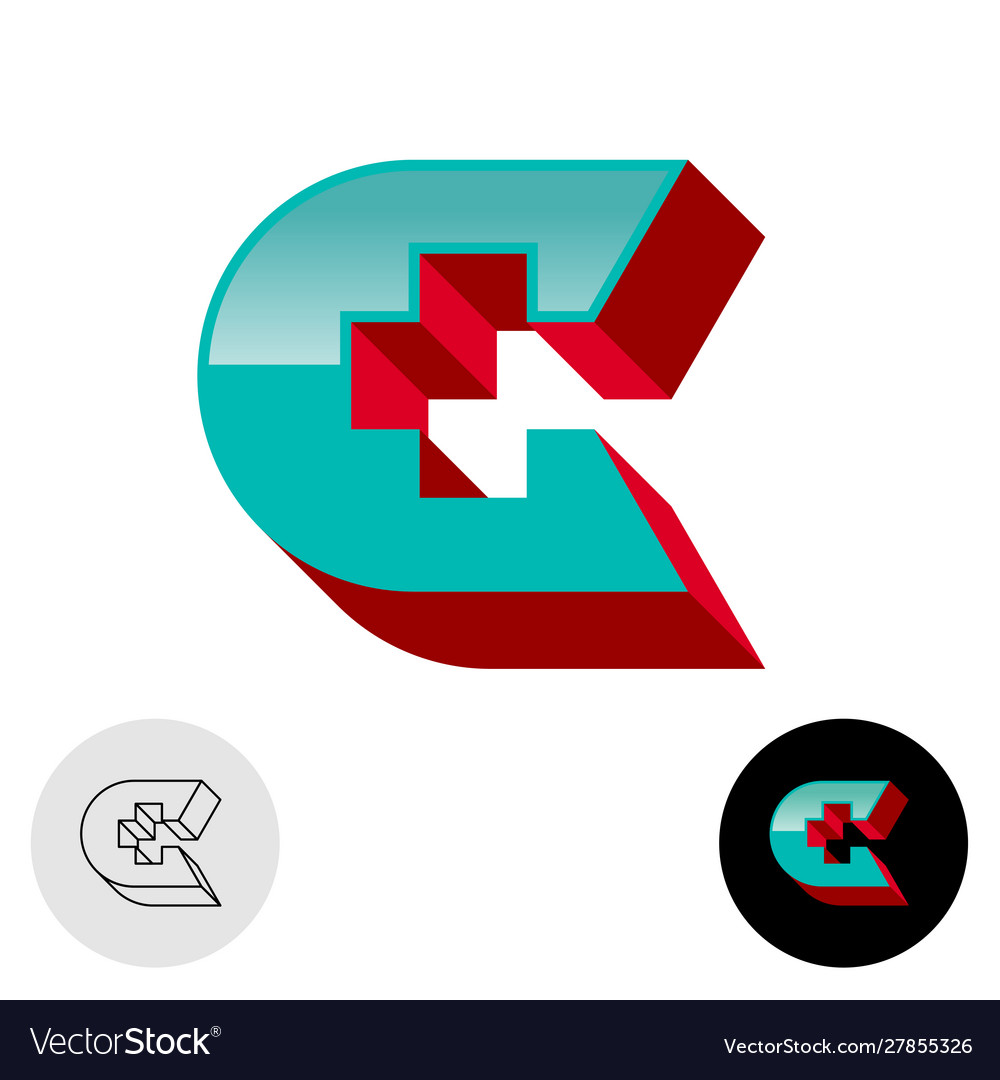 Letter c 3d logo with medical cross or plus sign