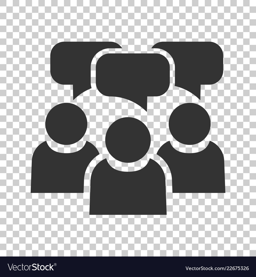 People with speech bubble icon in flat style