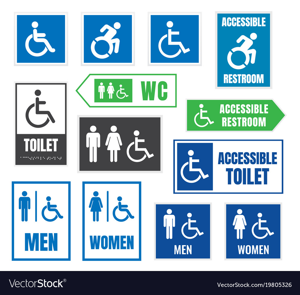 Restroom signs for disabled people accessible