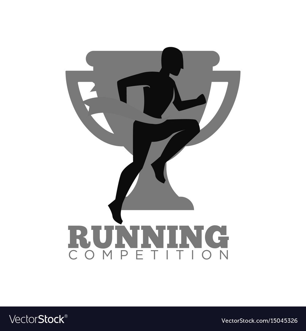 Running competition emblem with cup and human vector image