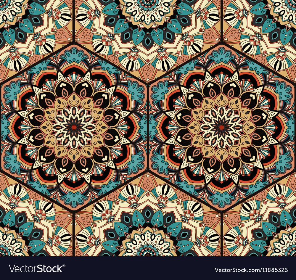Tile Honey Comb Hex Pattern Flower Mandala