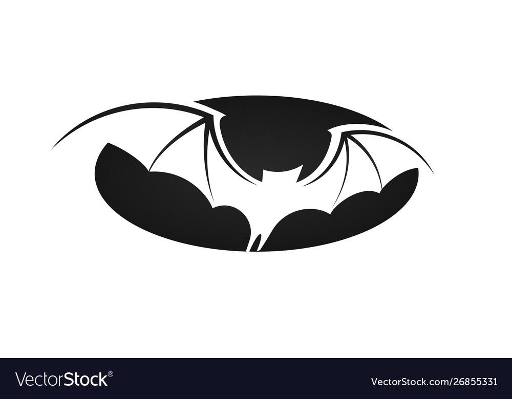 Bat in flight wide wings negative space