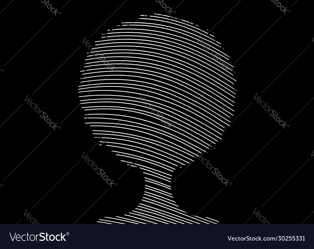 Curly afro hair drawing with lines afro portrait