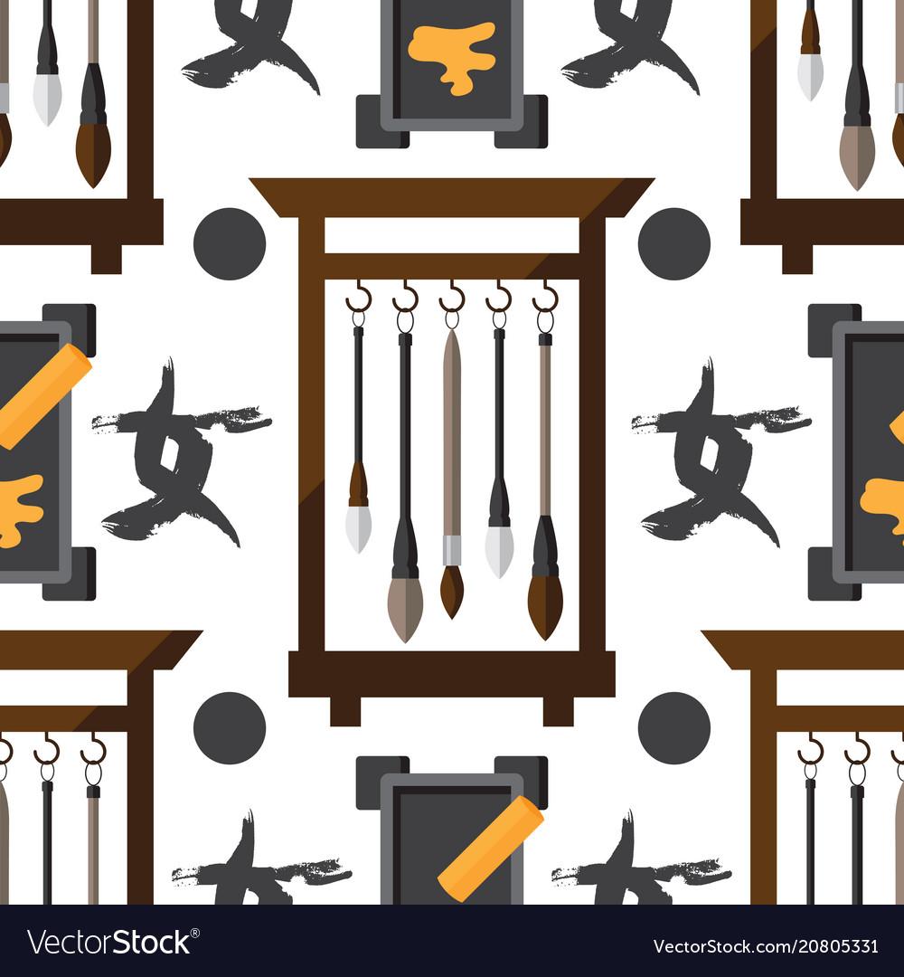 Flat seamless pattern with chinese brush