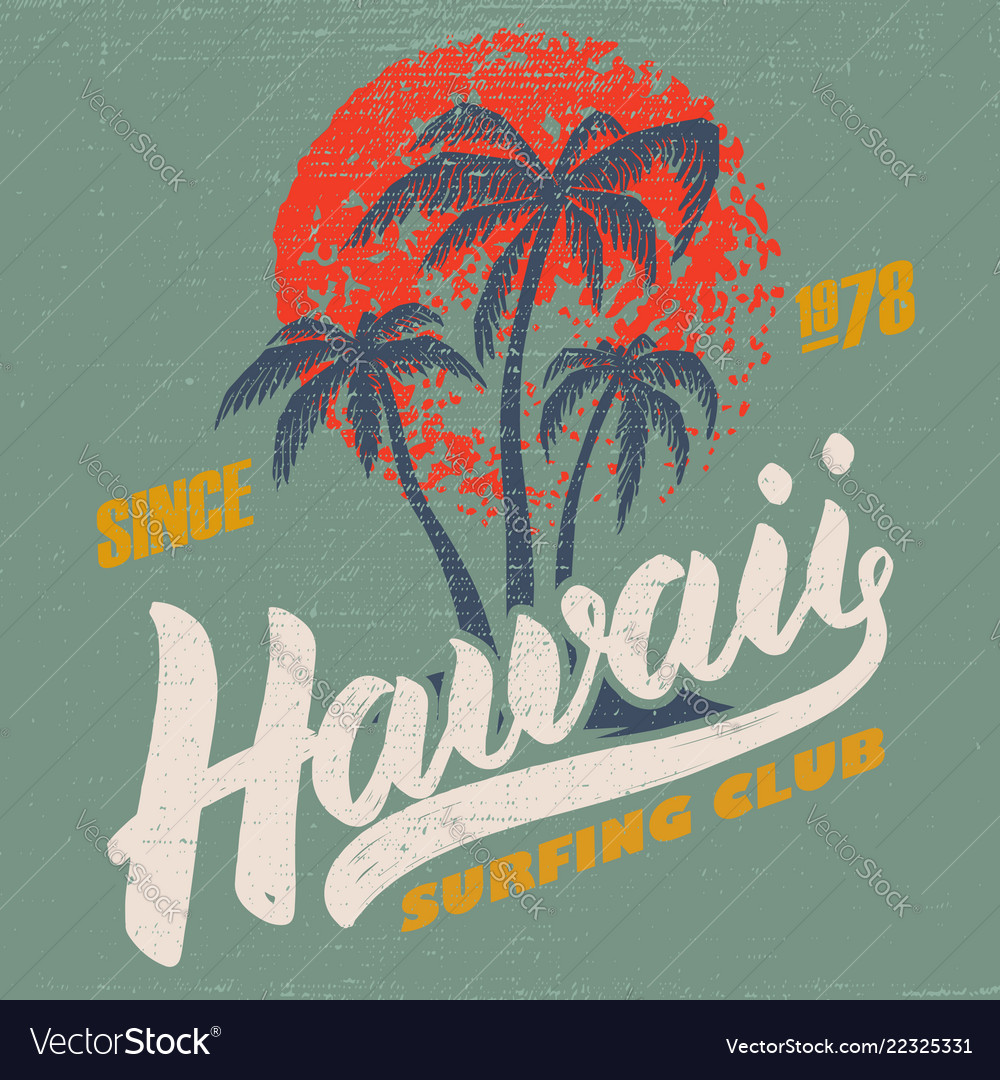 Hawaii surfing club poster template with