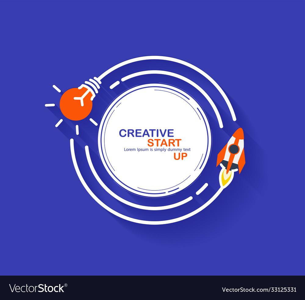 Rocket launch with creative light bulb ideas