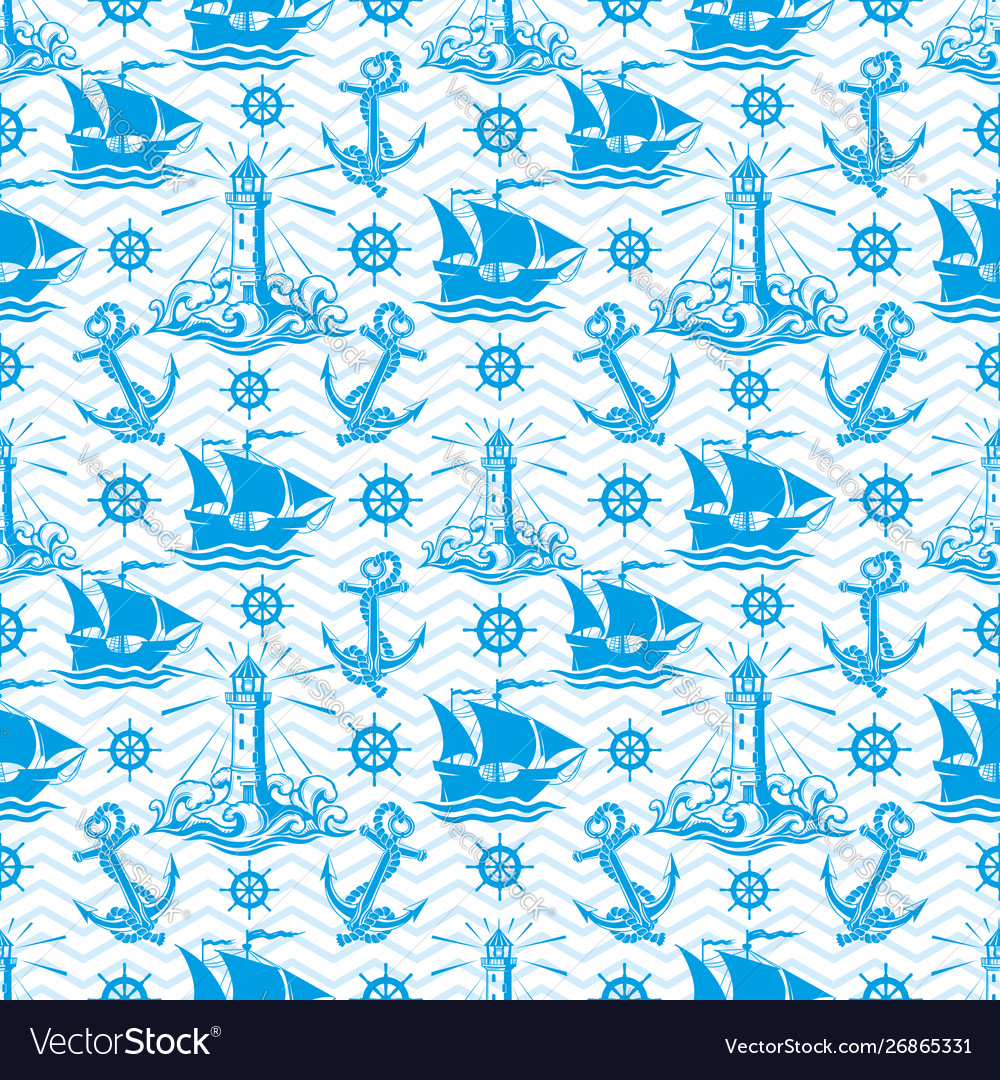 Seamless pattern with lighthouse