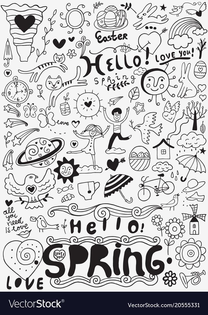 Spring doodle set