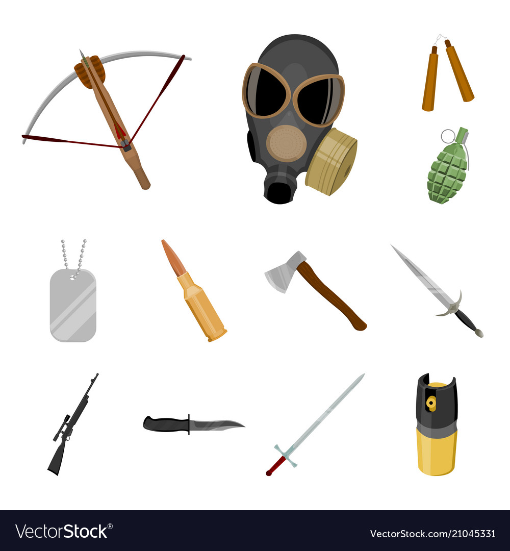 Types of weapons cartoon icons in set collection
