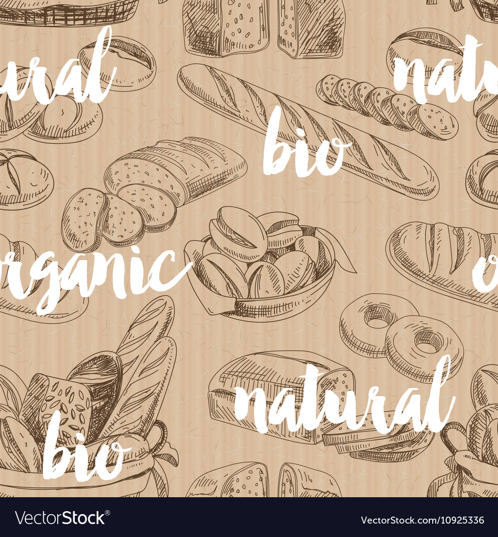 Bread retro seamless pattern