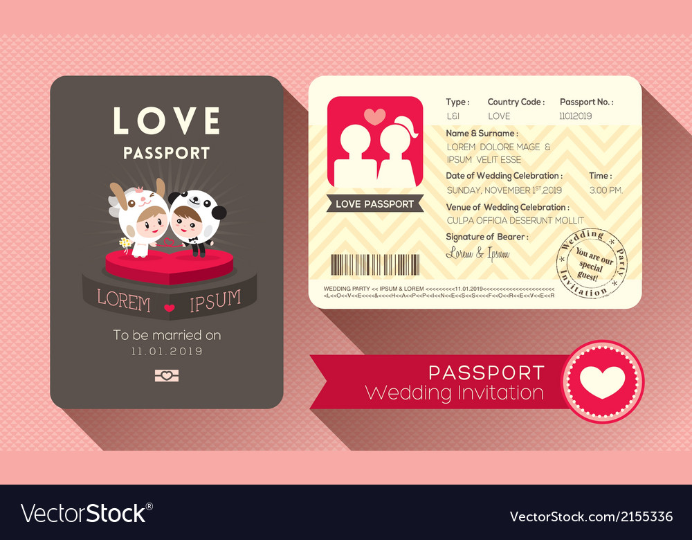 Cartoon passport wedding invitation card vector image stopboris Gallery