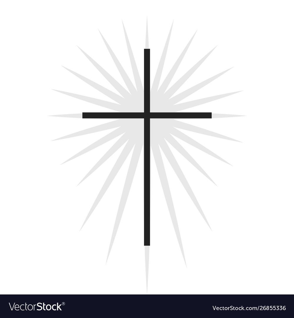 Symbol Black Thin Cross With Lighting