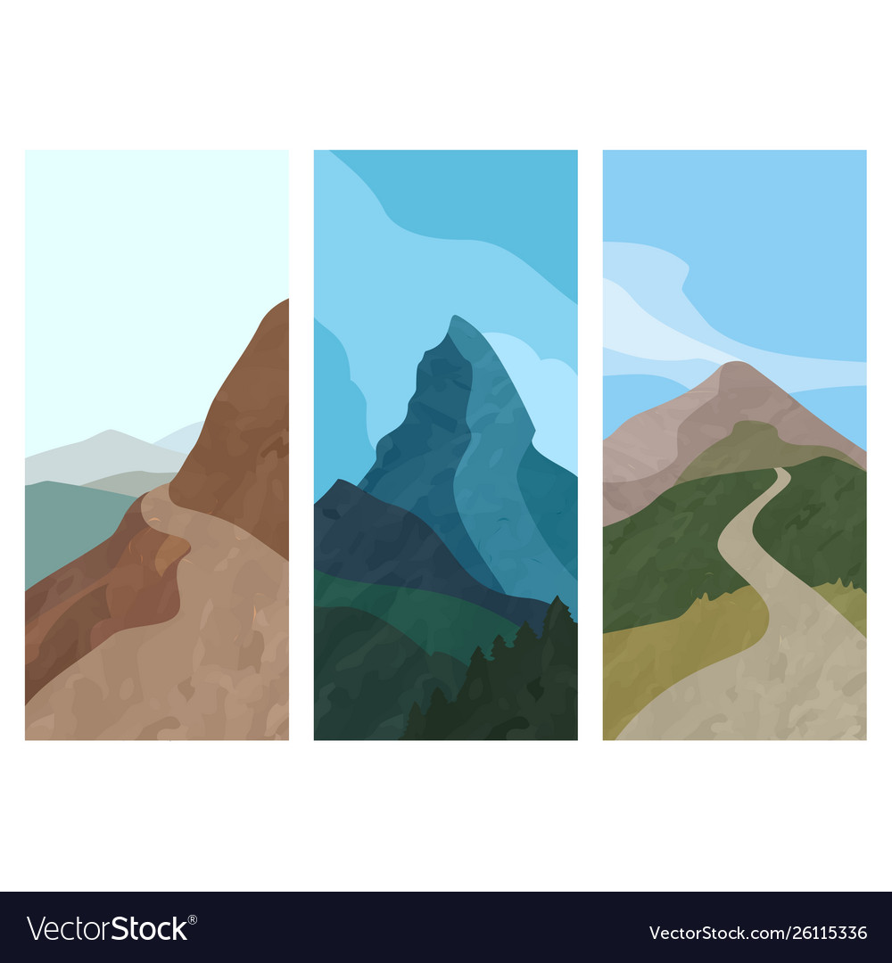 Cover template vertical banner with mountain in