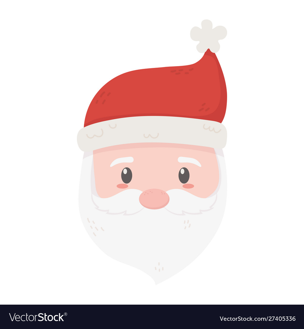 Cute santa face with hat celebration merry