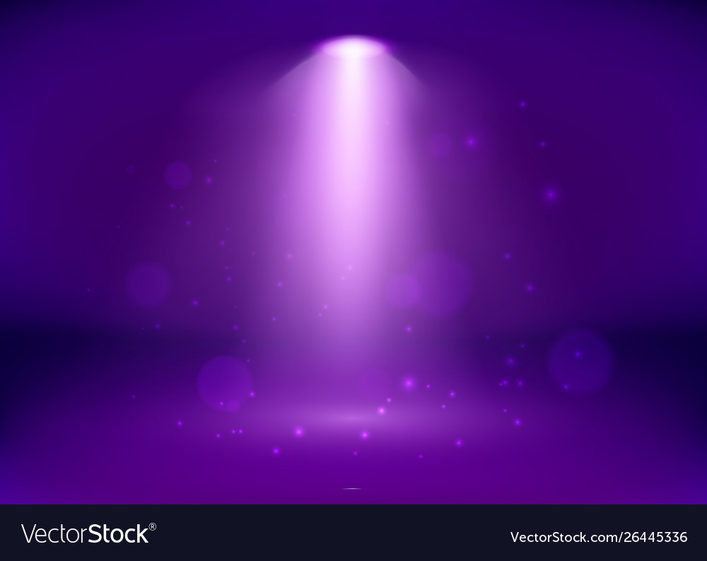 Empty purple studio and spotlight bright shiny