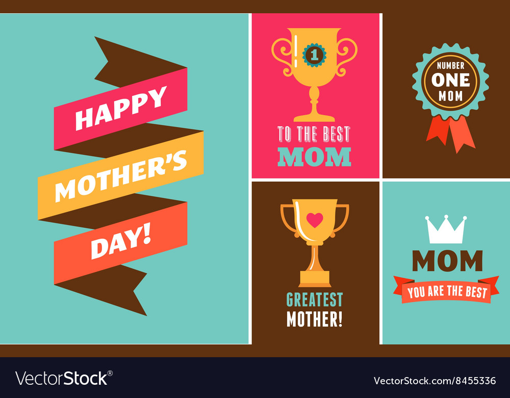 Happy Mothers Day ribbons trophy and elements