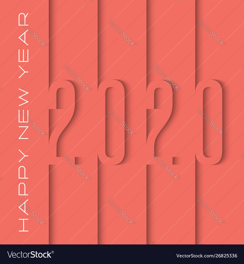Logo 2020 number cut out paper sheets overlay