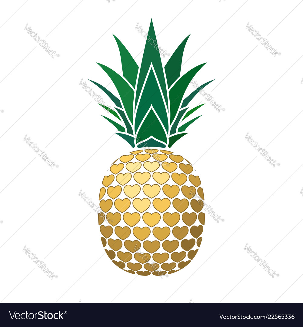Pineapple golden with hearts tropical gold exotic