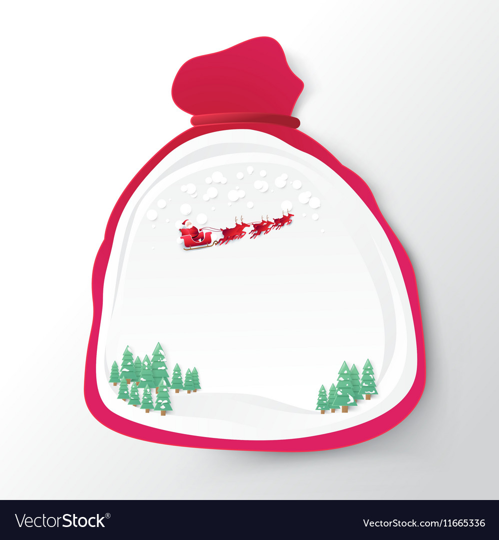 Santa Claus bag with christmas background paper