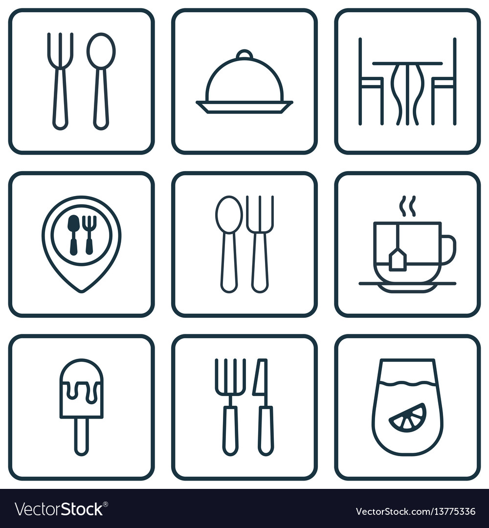 Set of 9 restaurant icons includes eating house