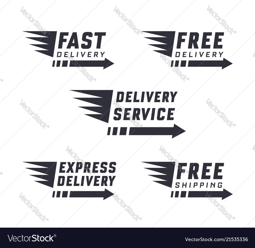 Set of delivery text signs and label