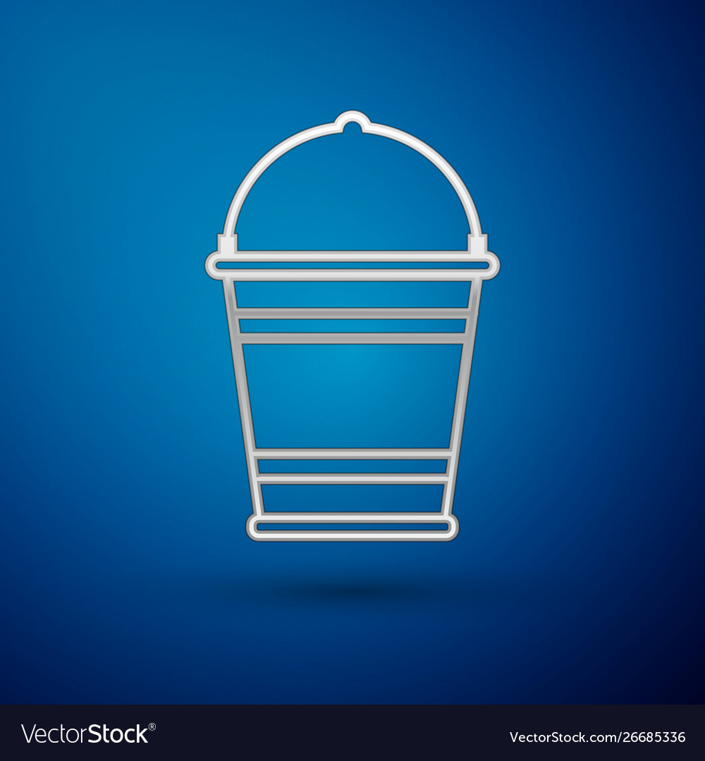 Silver bucket icon isolated on blue background