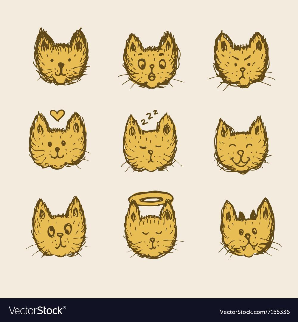Sketch cat emoticon vector image
