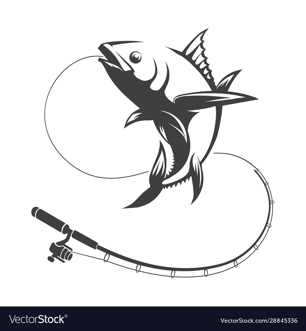tuna fish and fishing rod royalty free vector image vectorstock