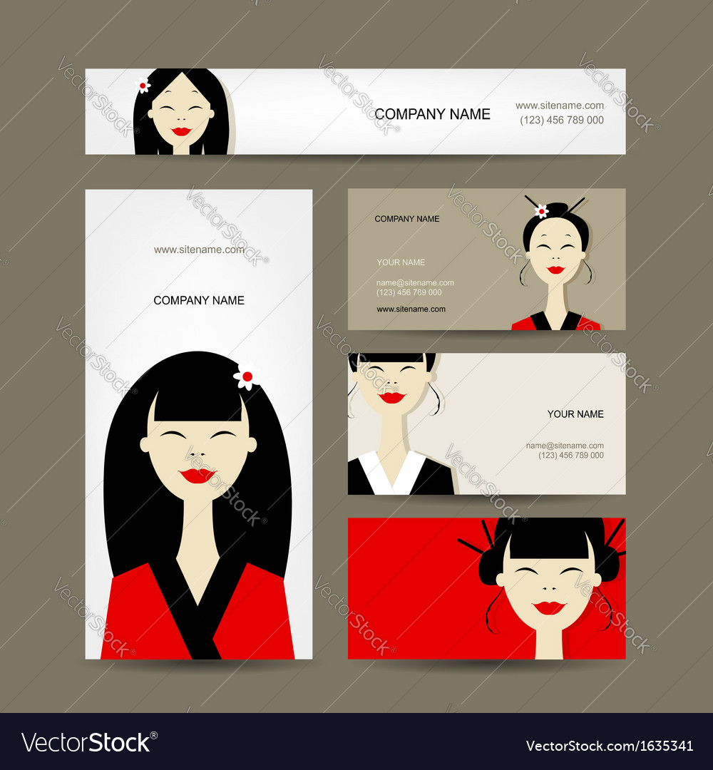 Business cards design with asian girls royalty free vector business cards design with asian girls vector image colourmoves