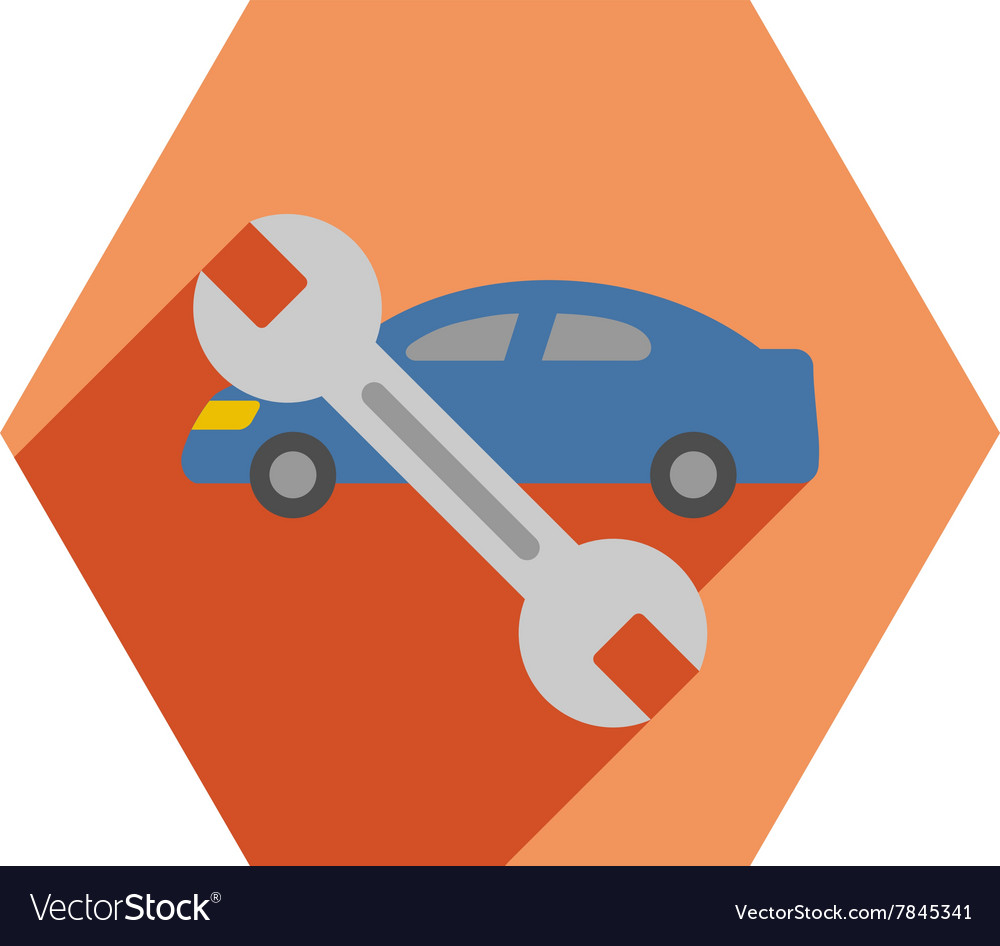 Long'S Auto Repair >> Car Repair Flat Hexagon Icon With Long Shadow