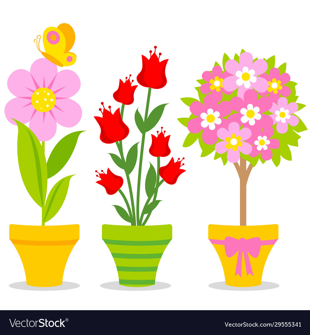 Cute Flowers In Flowerpots Royalty Free Vector Image