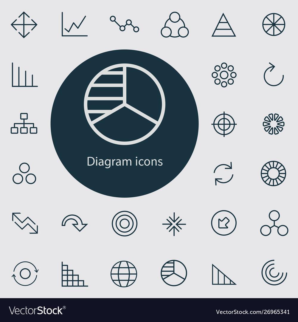 Diagram outline thin flat digital icon set