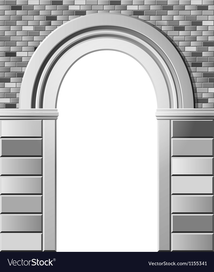 Entrance with arch monochrome template