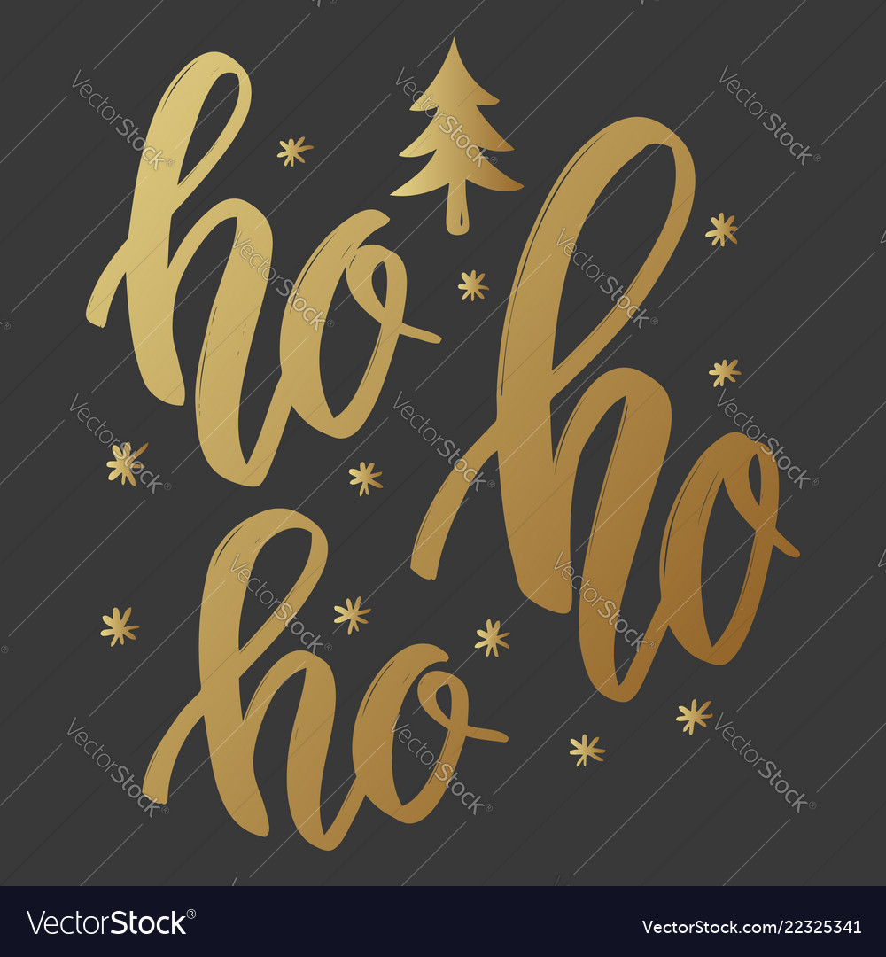 Ho ho ho lettering phrase in golden style on