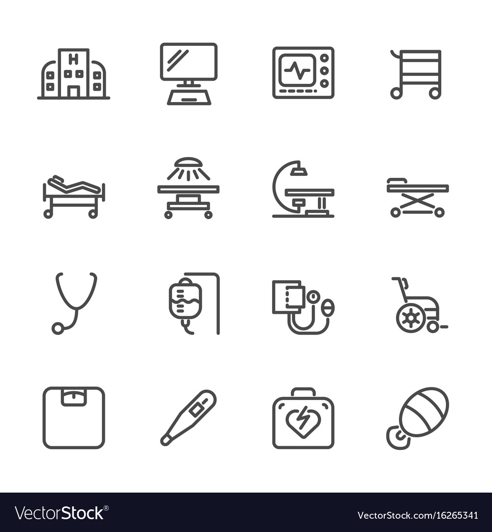 Hospital and medical equipment icons set line