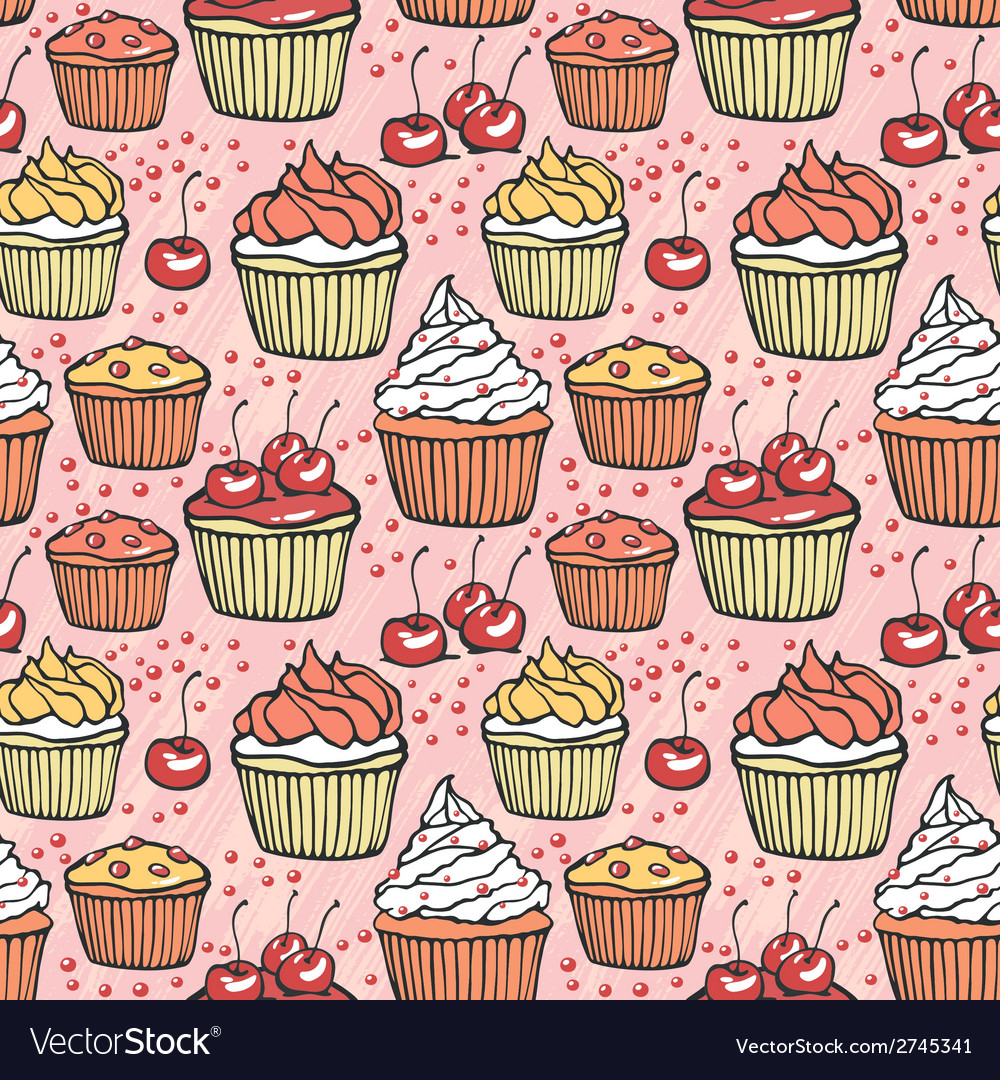 Seamless pattern with muffins and cherries