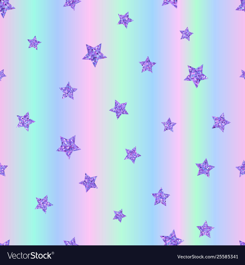 Seamless pattern with ultraviolet purple stars on