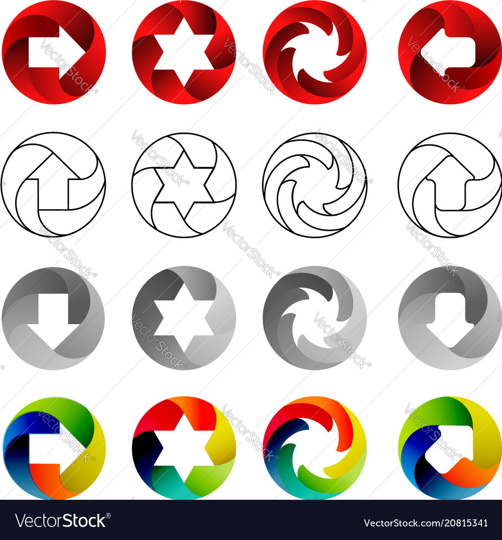 Set of signs in the circular forms with the