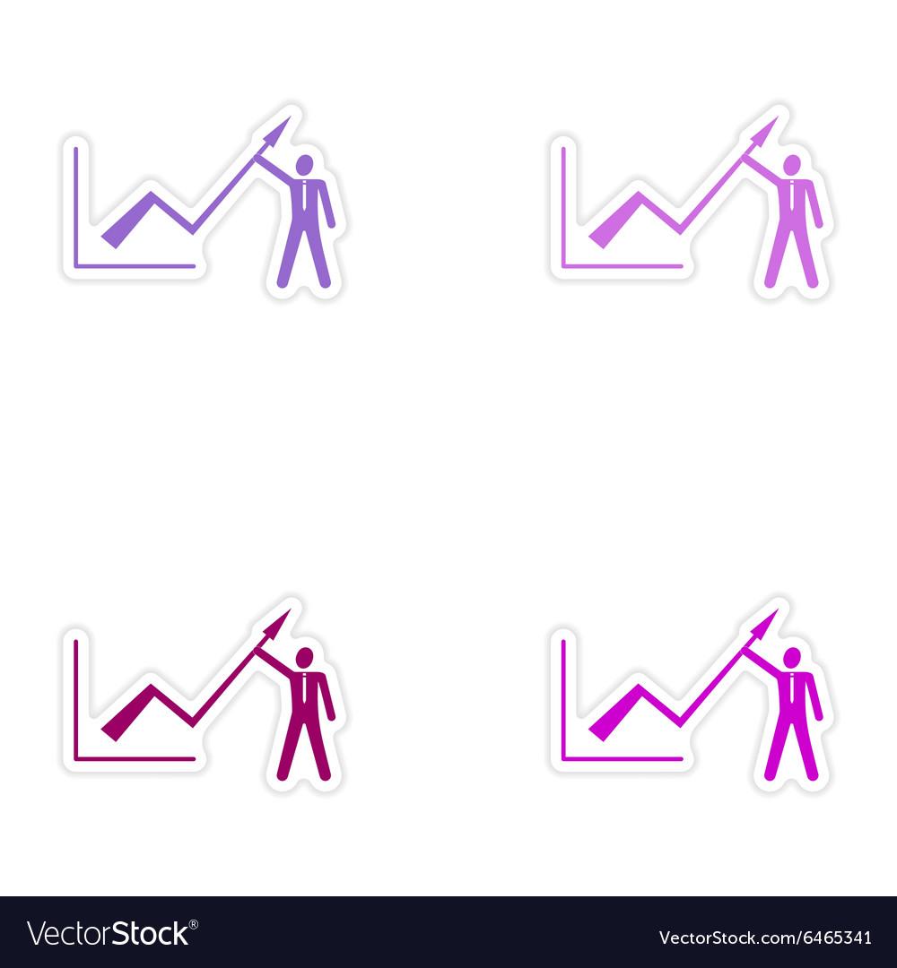 Set of stylish sticker on paper Economic graph and