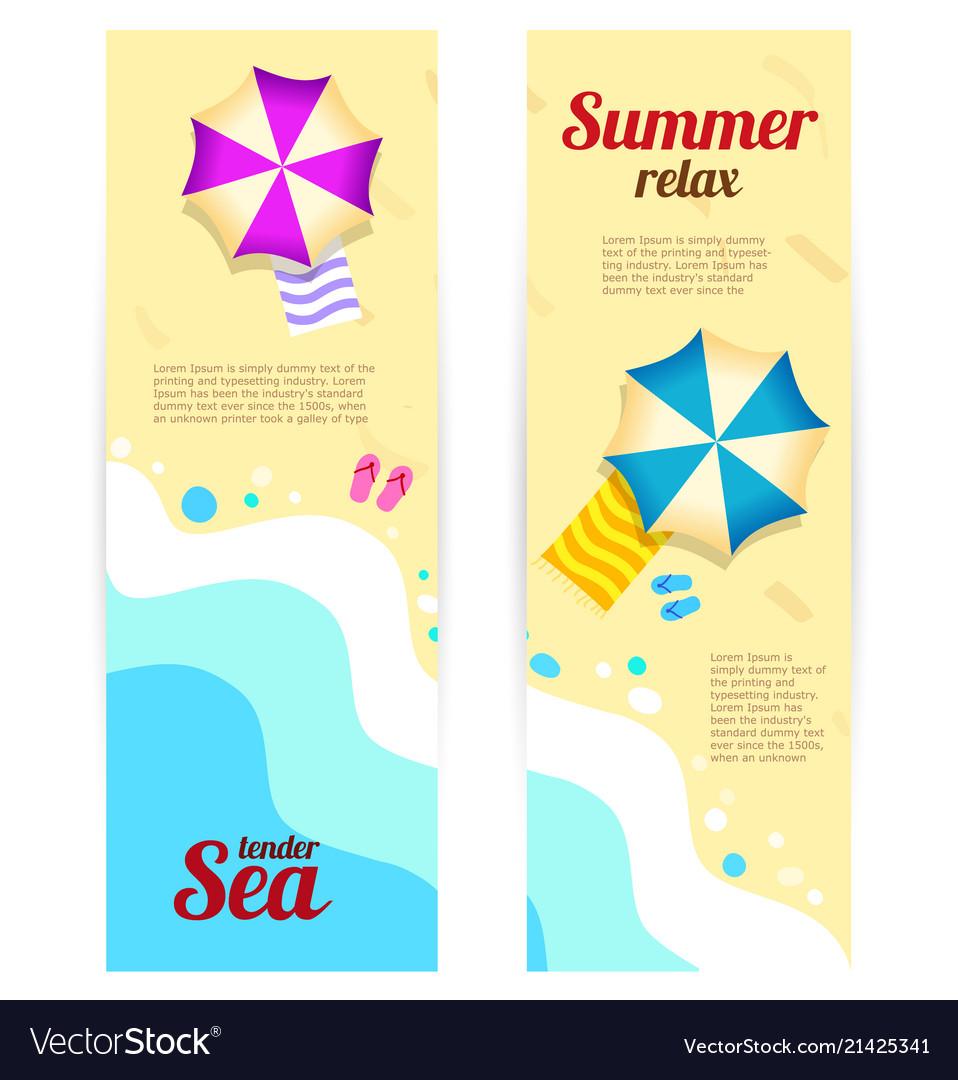 Set vertical banner sunny summer day summertime