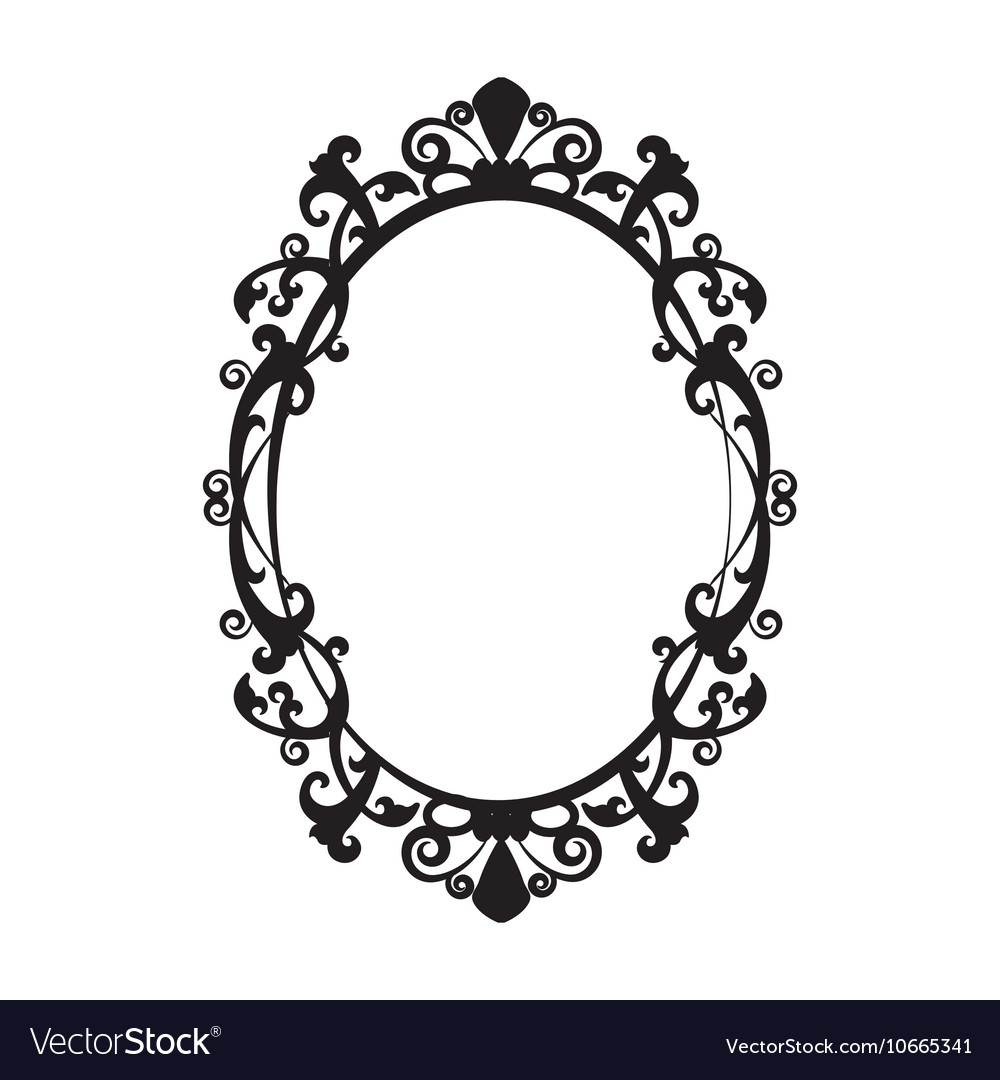 Vintage Oval Mirror Frame Royalty Free Vector Image