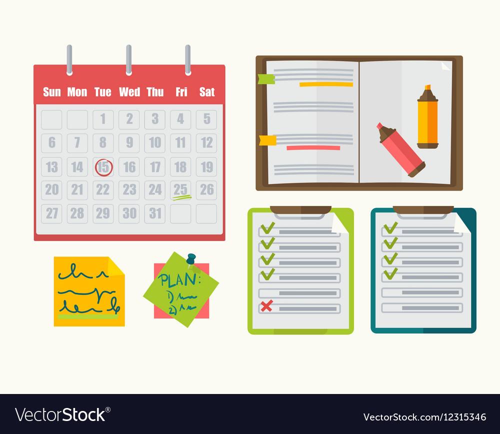 Calendar with note notebook plan