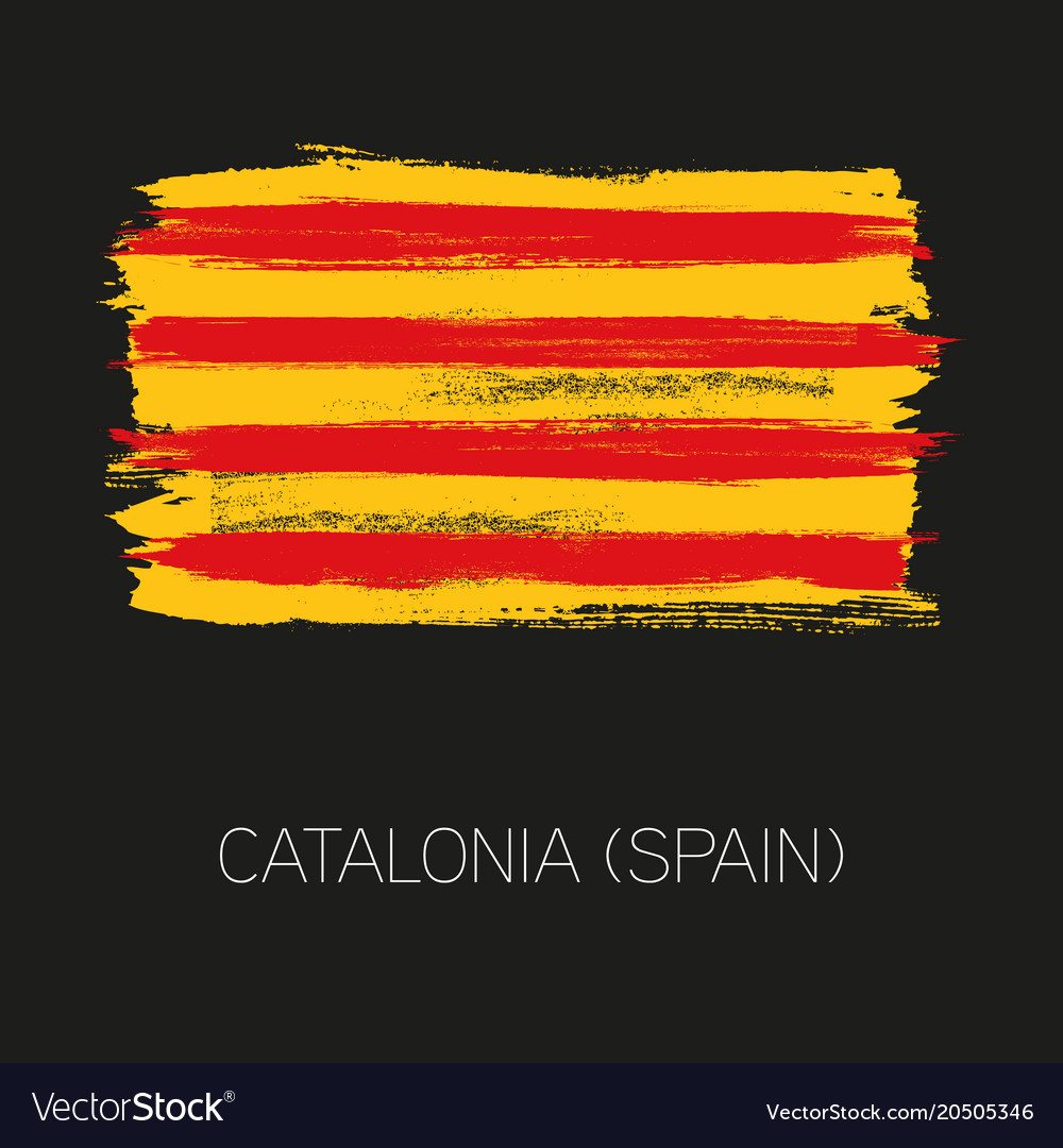 Catalonia brush strokes painted country flag
