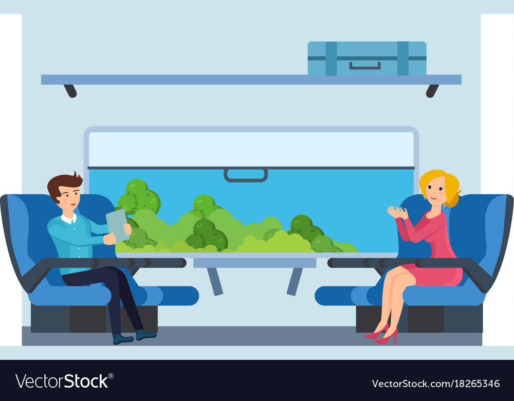 Couple on train against cabin interior background